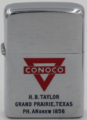"""1951 Zippo with a Conoco logo. Engraved for H.B. Taylor, Grand Prarie, Texas with an old style telephone number """"ANdrew 1856"""""""