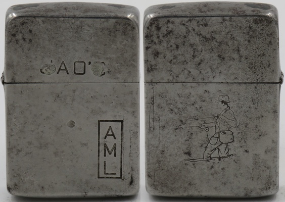"This 1942 steel case Zippo hasline drawn Sports Series ""Fisherman with Pipe"" on one side, the initials ""AML"" on the back case and ""JAO'C"" on the lid.  This is a rare Zippo"