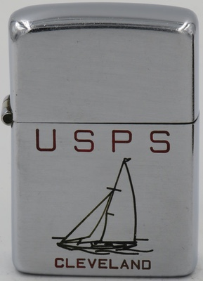 1946-47 Zippo with a line-drawn sailboat for USPS, U.S. Power Squadron which promoted boating safety