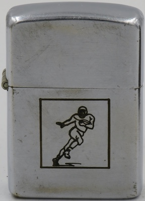 "1948-49 Zippo with a line drawn test sample of a ""Football Player"""