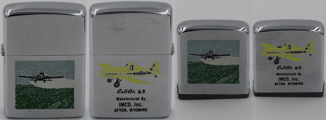 1965 two-sided Zippo lighter and matching tape measure advertising IMCO's CallAir A-9 agricultural crop duster aircraft