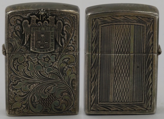 Another 925 Sterling Silver lighter made in Peru with the coat of arms of Lima, the City of Kings on a yet another Venetian design