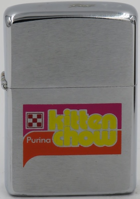 1975 Zippo for Purina Kitten Chow. It has the checkerboard logo of Ralston Purina, a leading animal food company started in 1894