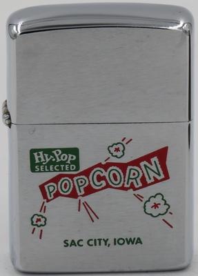 1964 Zippo advertising Hy-Pop Selected Popcorn in Sac City, Iowa
