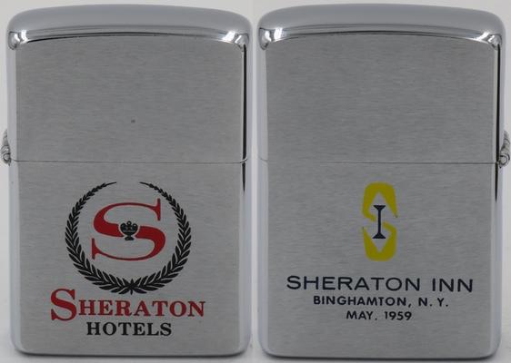 """1959 Zippo for Sheraton Hotels. The reverse side reads """"Sheraton Inn Binghamton NY May, 1959"""""""