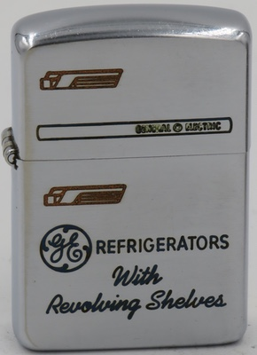 "1954-55 Zippo advertising GE General Electric Refrigerators ""with Revolving Shelves"""