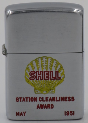 This 1951 Shell Zippo was given as a  station cleanliness award in May, 1951