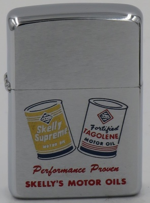 """1961 Zippo for """"Performance Proven Skelly's Motor Oils"""" with graphics of cans of Kelly and Tagolene motor oil"""