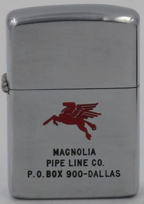This 1953 Zippo has an engraved Pegasus, the flying horse logo for Mobil Oil, advertising the Magnolia Pipe Line  Co of Dallas, Texas