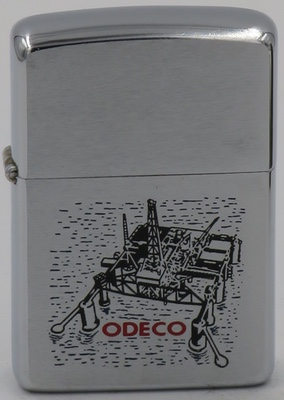 1966 Zippo for ODECO, or Ocean Drilling & Exploration Company, with a graphic of an offshore oil drilling rig