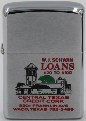 1970 Zippo with busy engraving for W.J. Schwan, Loans $20 to $100 Central Texas Credit Corp in Waco, Texas