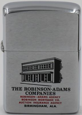 1962 Zippo for The Robinson - Adams Companies in Birmingham, Alabama