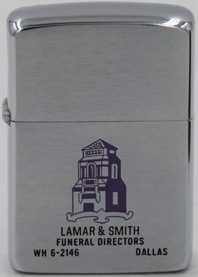 1962 Zippo for Lamar & Smith Funeral Directors in Dallas