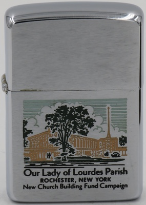 1963 Zippo with an interesting engraving of Our Lady of Lourdes Parish in Rochester, New York