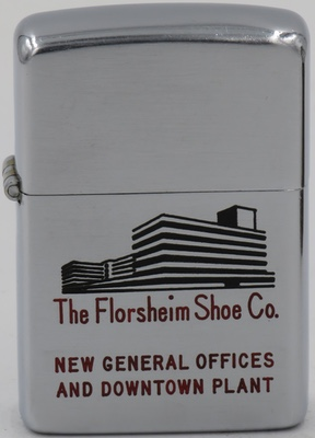 """1949-50 Zippo for the Florsheim Shoe Company with an image of its """"New General Offices and Downtown Plant"""". Florsheim was founded in 1892 in Chicago"""