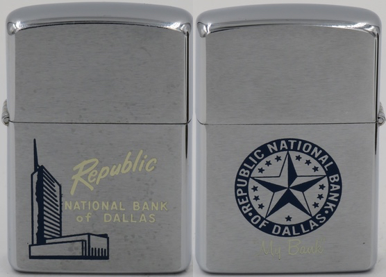 "Two-sided 1958 Zippo with Republic National Bank of Dallas on one side, a star for  ""My Bank"" on the other"