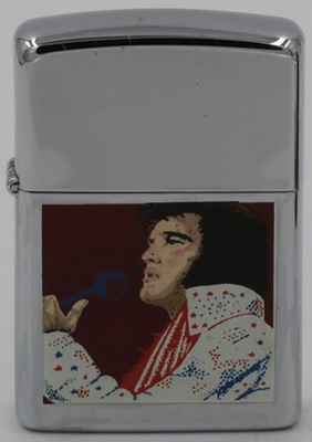 1990 Zippo with older Elvis singing; high polish chrome case.