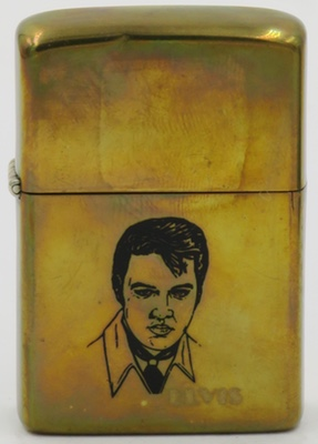 1982 Zippo with Elvis on high-polish brass finish.