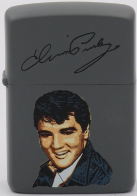 1987 Zippo with face of young Elvis on a case painted gray