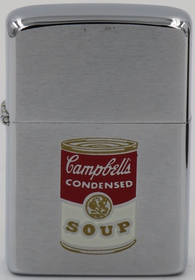 1981 Zippo with the image of a  Campbell Soup can , an image made famous in the art world byAndy Warhol.  The Campbell Soup Company traces its origins back to 1869.