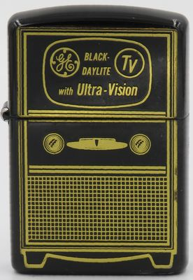 Rare 1953 black enamel TV-looking Zippo advertising GE's Black Daylite TV with Ultra-Vision