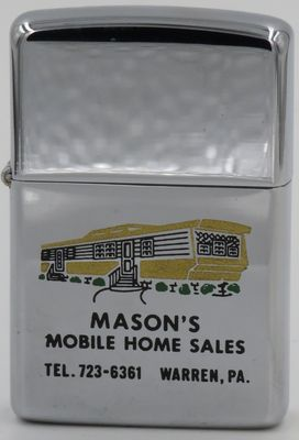 While not a building in the traditional sense, this 1966 Zippo has a graphic of a mobile home advertising Mason's Mobile Home Sales Warren in Pennsylvania