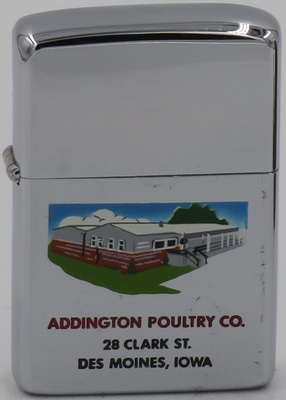 1962 T&C Zippo with building for Addington Poultry Co in Des Moines, Iowa