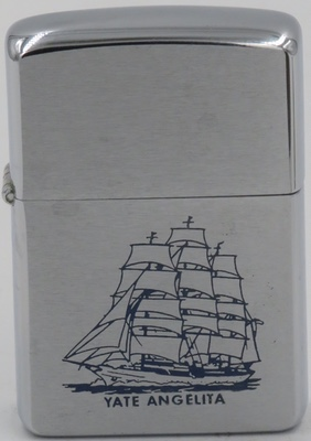 1958 two-sided Zippo of the sailing ship Sea Cloud, the oldest running ship of its kind. The Zippo was commissioned for Rafael Trujillo's damily as shown on  this page