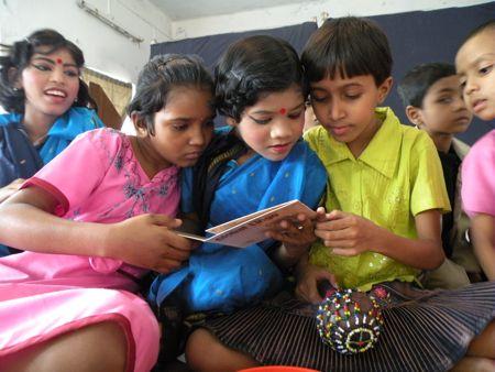 Children at the Rehabilitation Clinic in Kolkata receive Global Lingo in 2009.