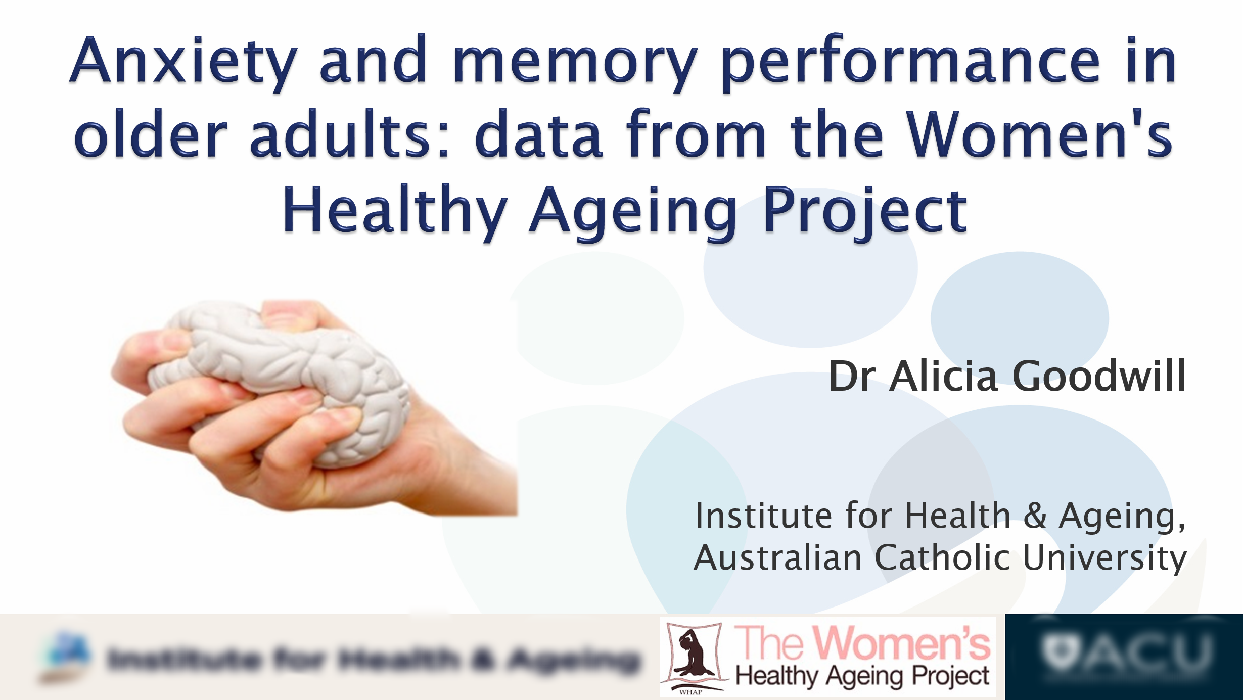 Anxiety and memory performance in older adults - The aim of this study was to examine the associations between late-life anxiety symptoms and verbal episodic memory, as well as the associations between cumulative stress from midlife, and late-life verbal episodic memory, in ageing Australian women.Trends were found for increased severity of anxiety, number of hassles and lower verbal episodic memory, as well as for cumulative severity of stress from midlife (over 20 yrs.) and reduced verbal memory performance in late-life.Citation: Goodwill, A., et al (2017).Anxiety and memory performance in older adults: data from the Women's Healthy Ageing Project. Paper presented at the 18th International Mental Health Conference, Gold Coast, Australia, 21-23 August.
