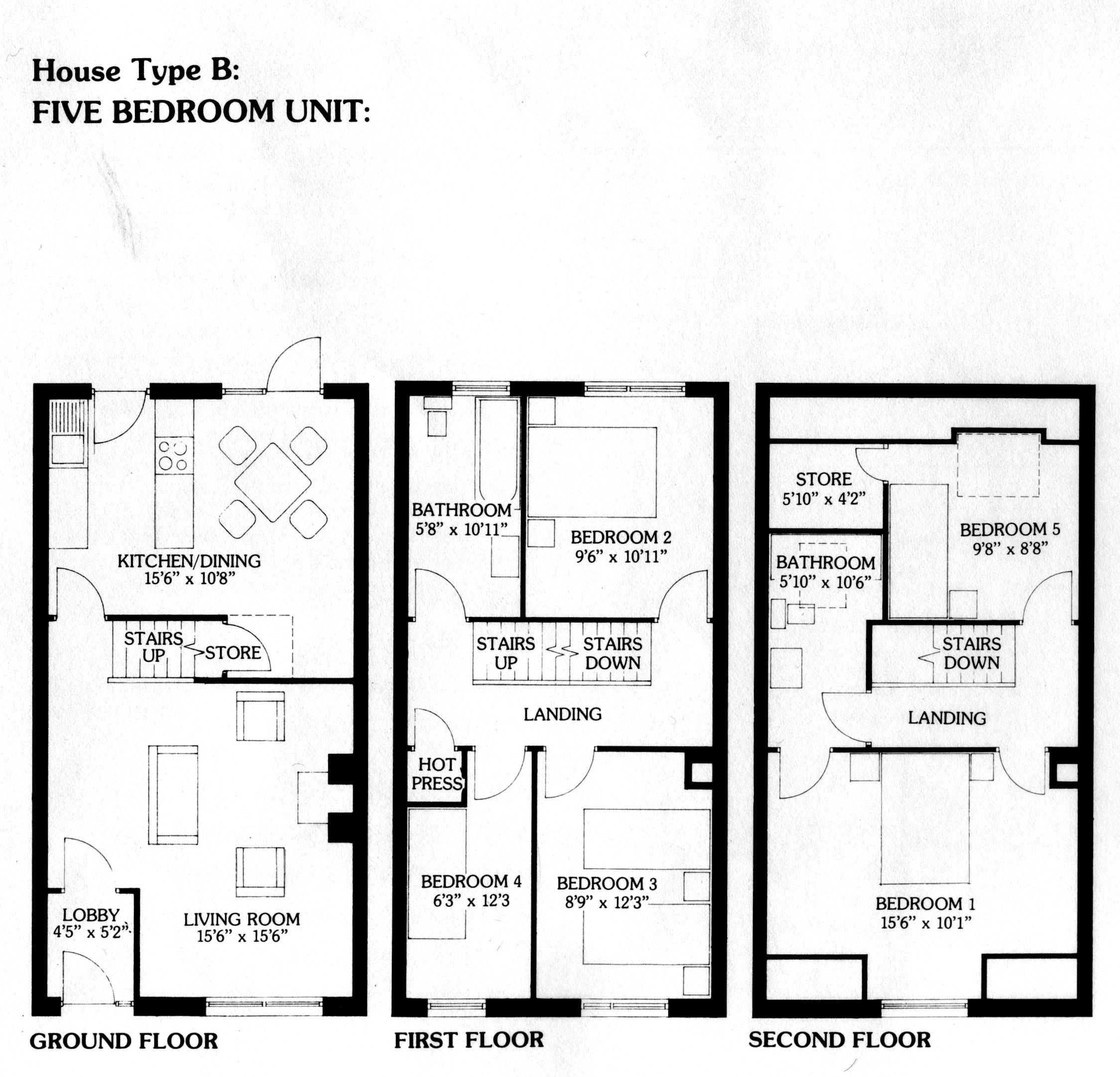 Three storey five bedroom 140 sq.m