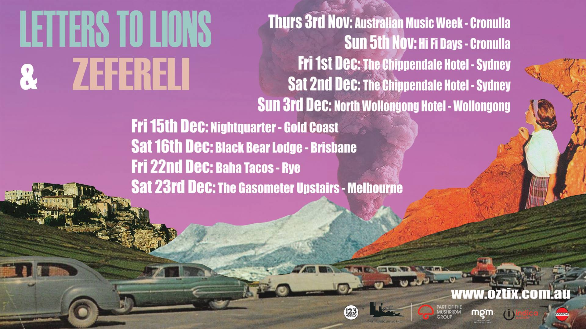 "Letters to Lions  and  Zefereli  are teaming up for a co-headline tour, set to spice up your summer. Hitting the road for a set of very special shows along Australia's East Coast.   LETTERS TO LIONS A true to life rock and roll band, the energy of friends crashing in vans, live shows full of piss and vinegar and sacrificing the body. Sprawling guitar melodies and aggressive, ambitious vocals, described as a concoction of swooning aggression and dance pop sensibility with comparisons to Kings of Leon, WU LYF, last Dinosaurs and Foals; the boys may just become your new favorite indie band  ZEFERELI Zefereli (aka Alistar Richardson) is a DIY kind of guy. as his former band The Cairos faded amongst bad vibes and fake smiles Alistar began Zefereli: a creative outlet to just do what he felt like when he felt like, not as a money maker, but as a cathartic ode to the self. ""It was fun, it was real, it was easy and it made me realise why the hell I was doing music."" Part of this renewal was the creative paring with fellow musician Clea. Alistar has recorded her more recent music and Clea performs and collaborates with Zefereli  +  The Hideaways"
