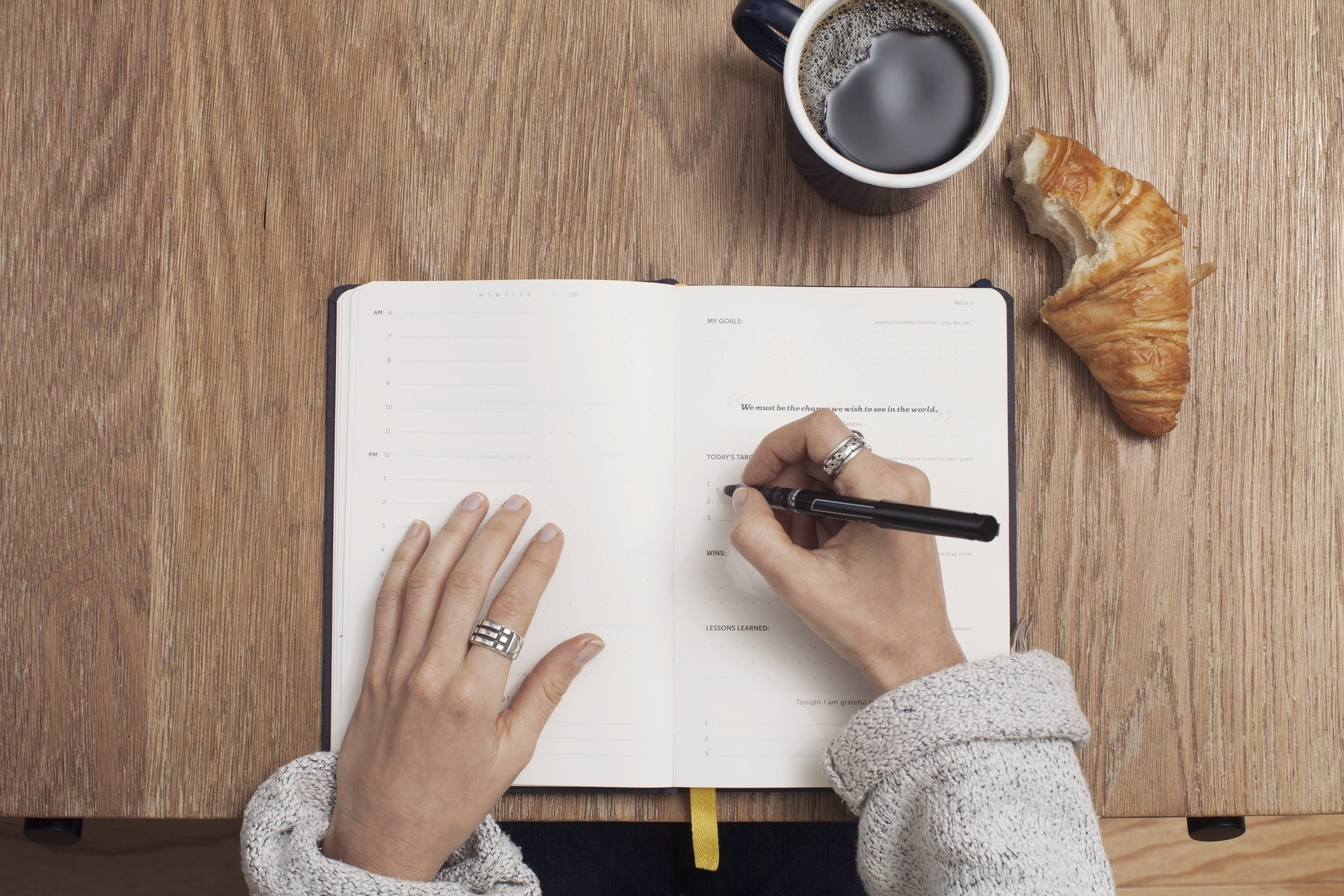 Image of hands writing and coffee