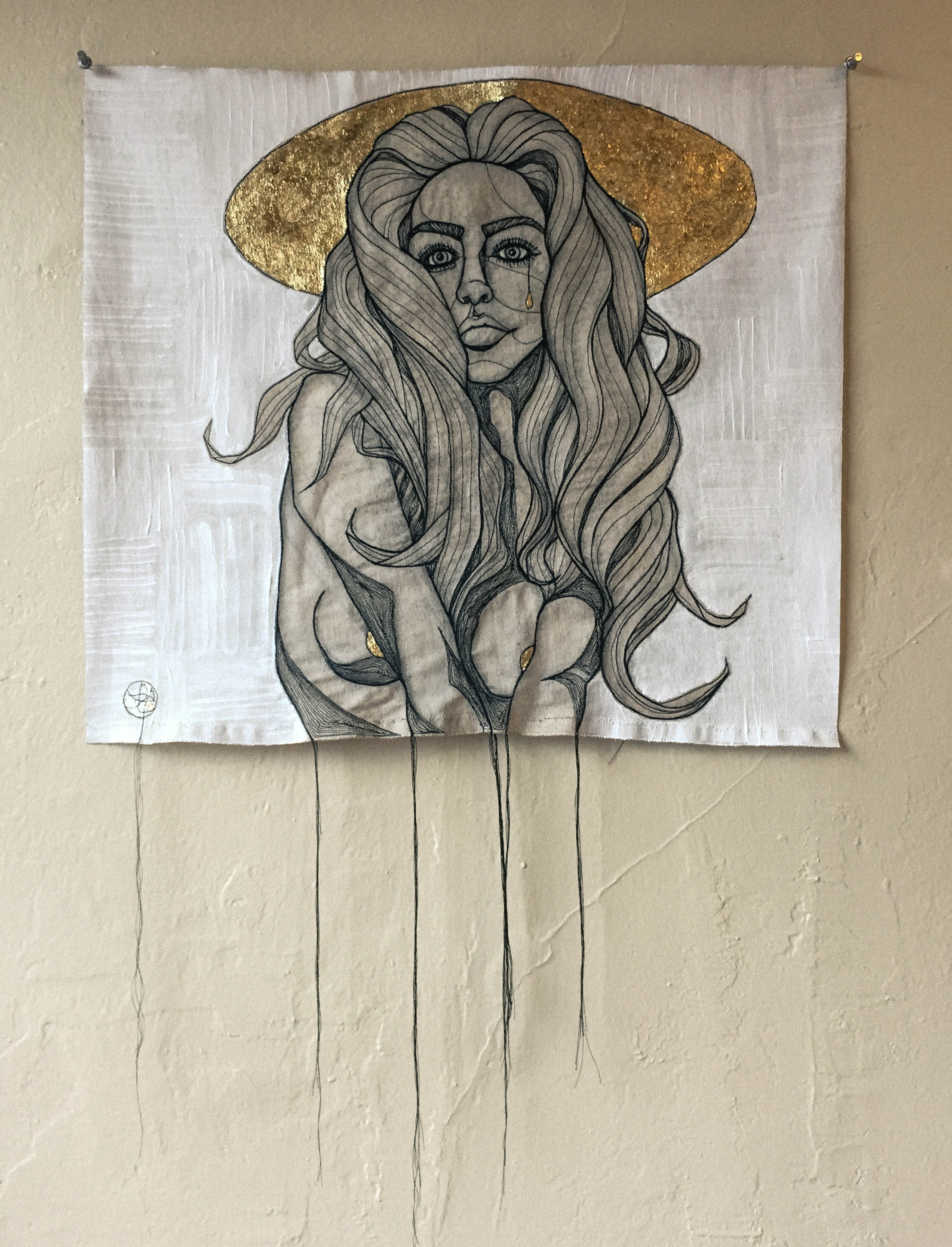 PRÉVALOIR  - COTTON THREAD, RAW DENIM, GOLD LEAF, ACRYLIC