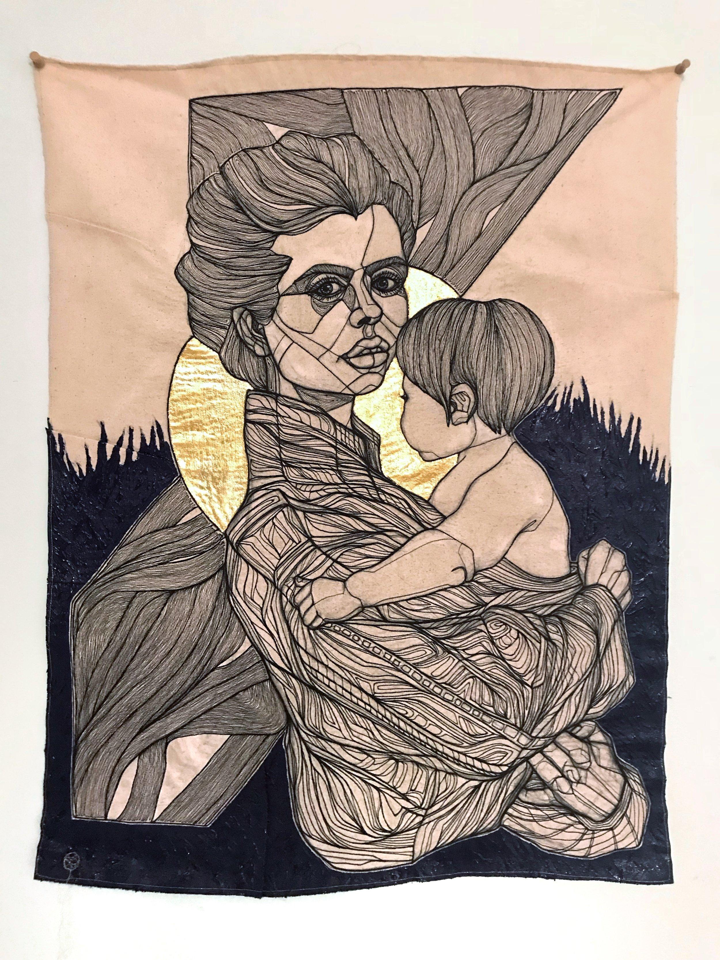 HAYLEY'S MADONNA  - COTTON THREAD, RAW DENIM, 22K GOLD LEAF, ACRYLIC 55 x 73 cm