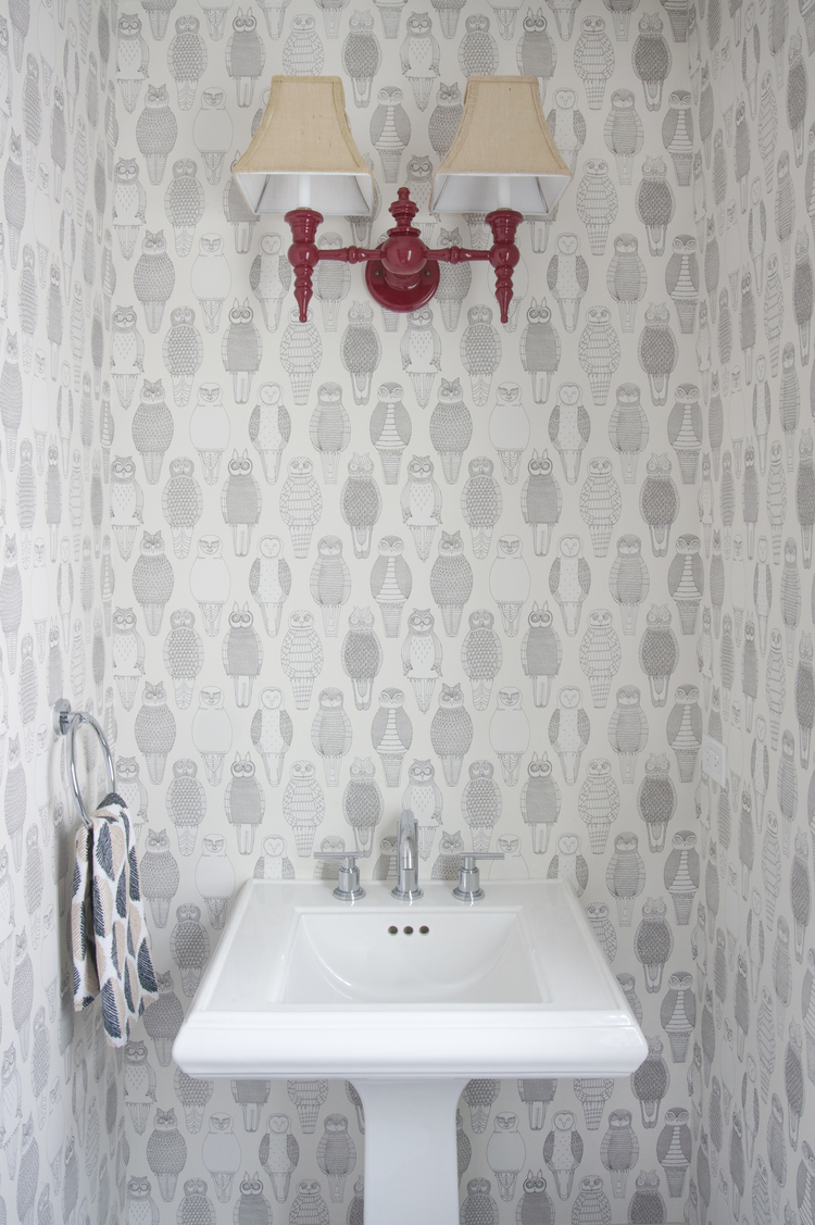 A bathroom in Chicago designed by NM Design House featuring Owls of the British Isles.
