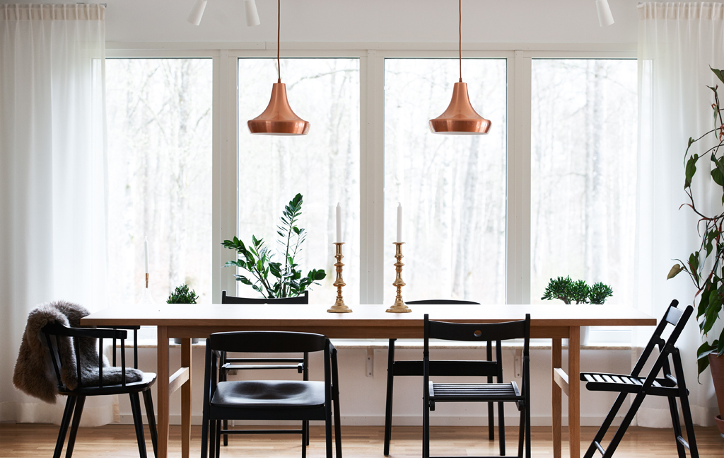 Dining room, Ikea, copper lights