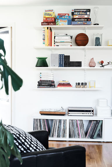 Ikea shelving in living room