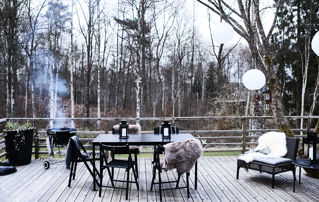 Outdoor dining, birch forest, Ikea