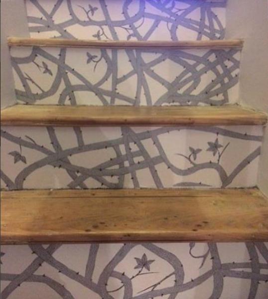 Brambleweb wallpaper on stairs