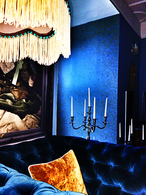 Brambleweb wallpaper in a gothic living room