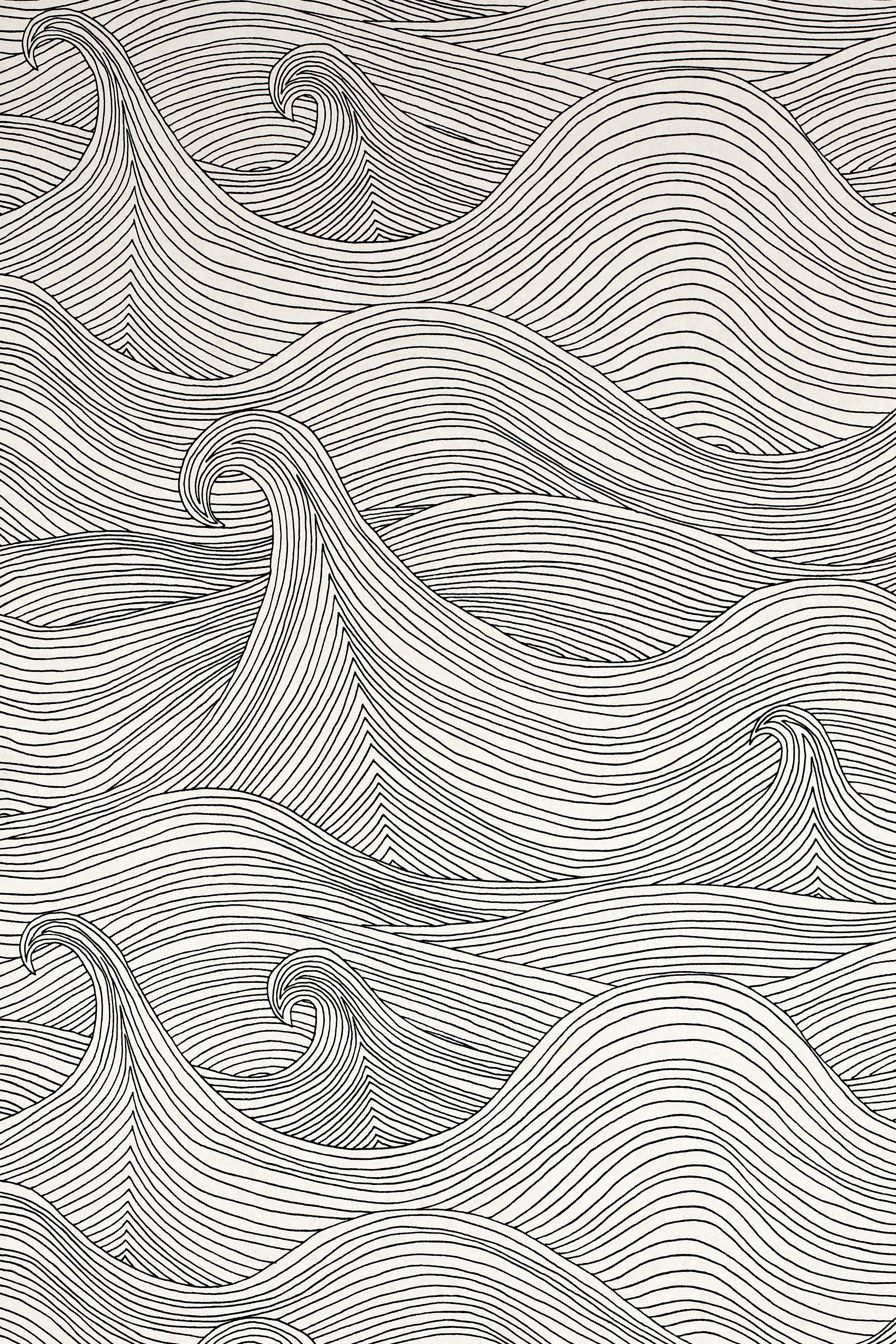 Seascape Wallpaper Winter Abigail Edwards Hand Drawn