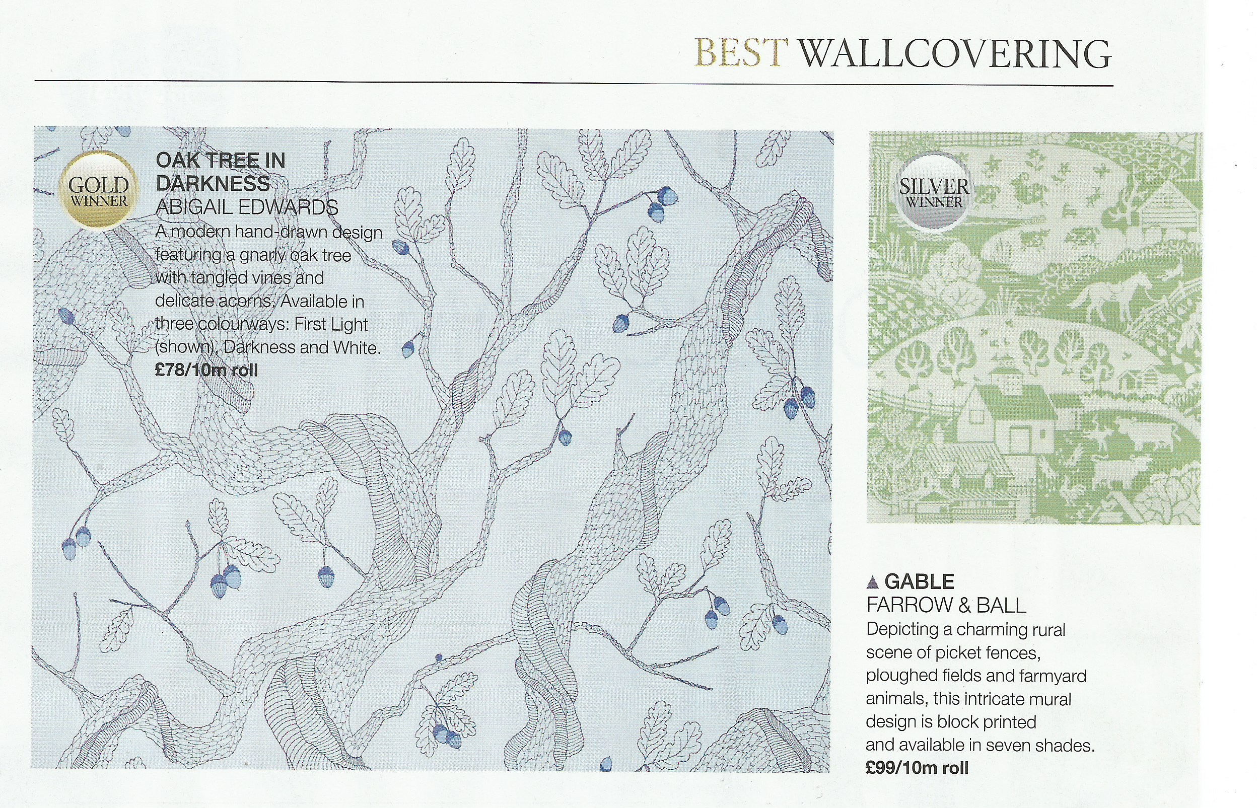 Oak Tree wallpaper wins gold at House Beautiful Awards
