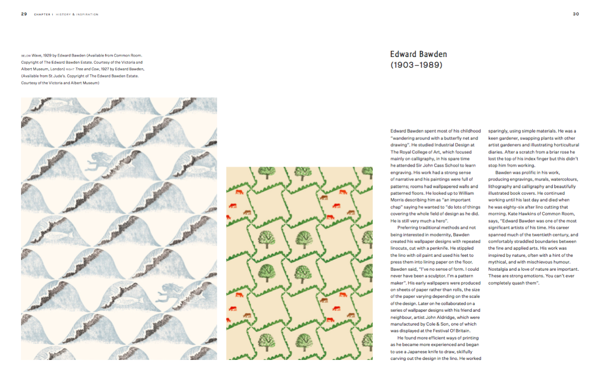 Edward Bawden wallpaper designs available from Common Room and St Judes
