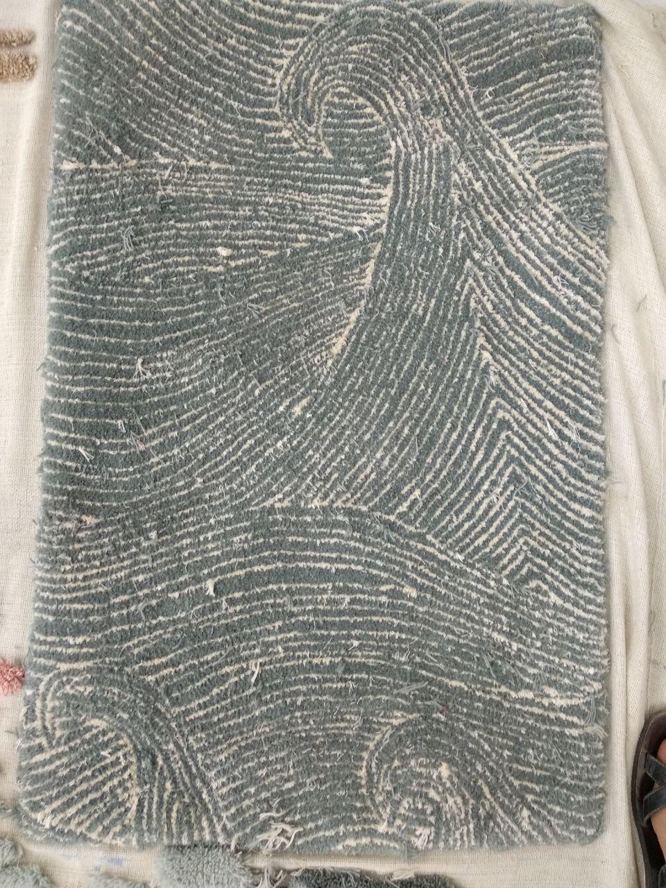 Seascape in Dusk rug sample before being trimmed