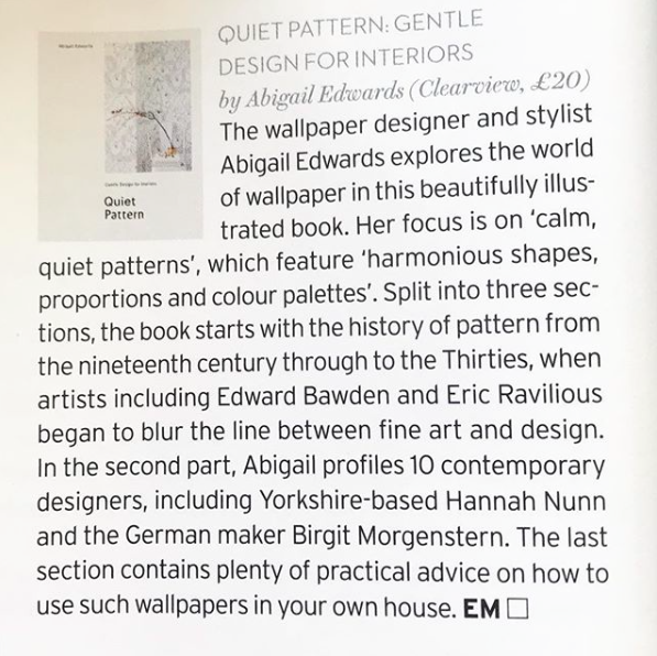 Quiet Pattern review in House & Garden Magazine
