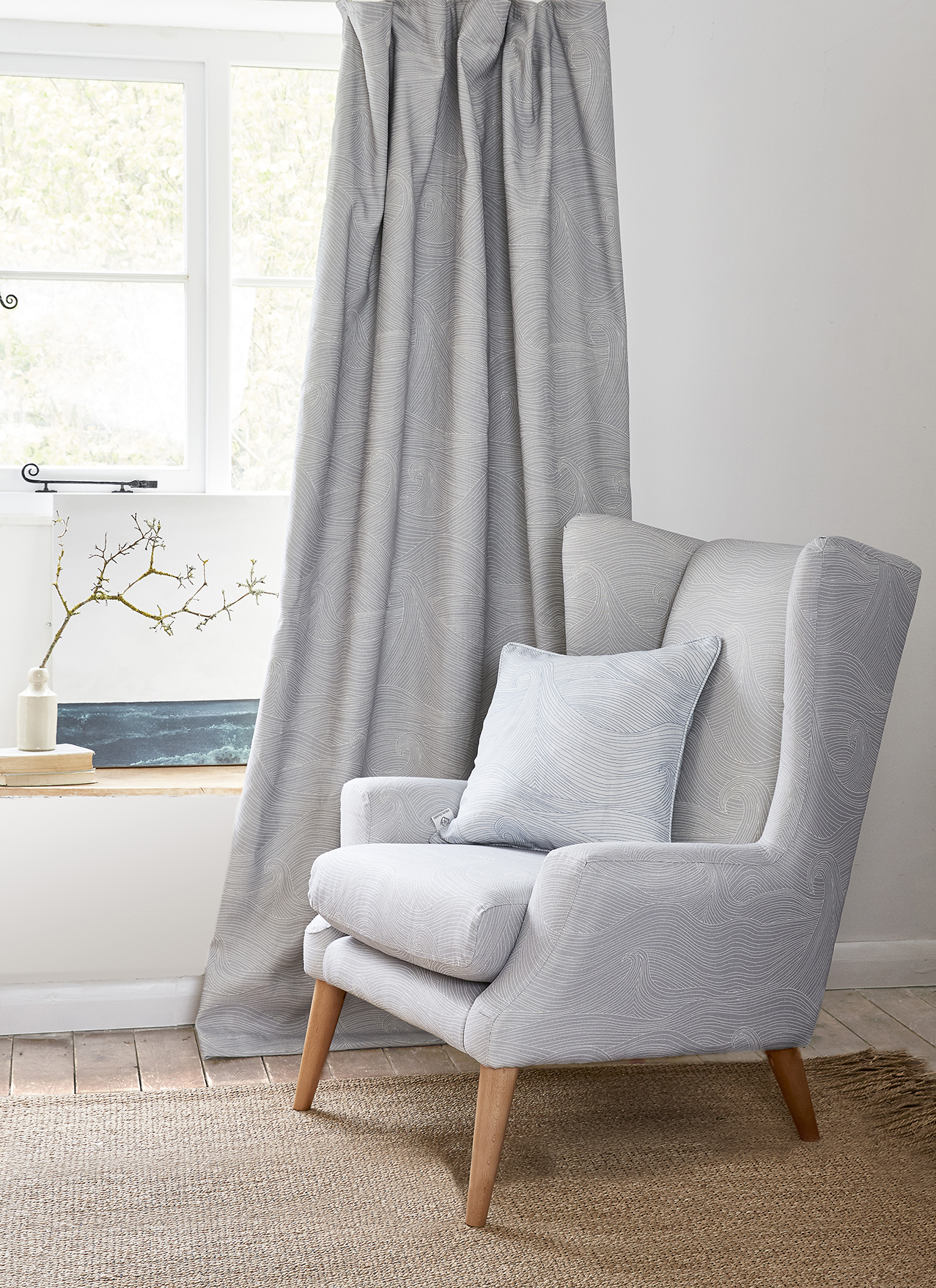 Sophie Chair by Parker Knoll upholstered in Seascape Linen at Dusk
