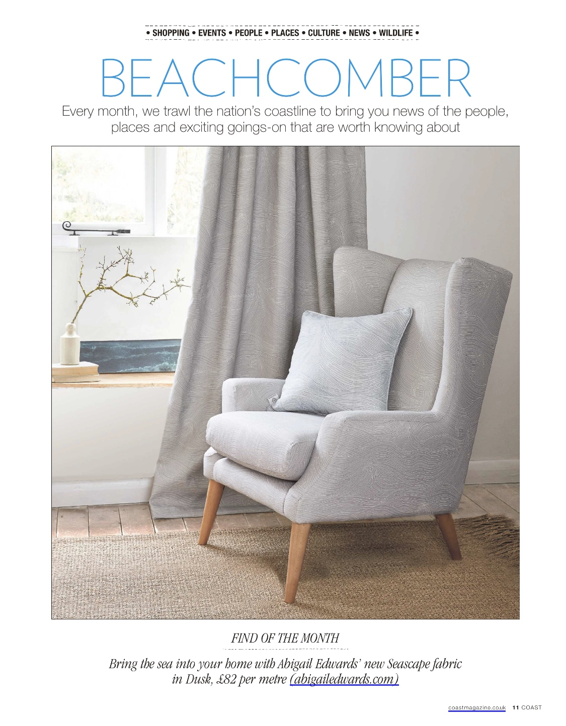 Seascape at Dusk linen on the Sophie chair by Parker Knoll in Coast Magazine