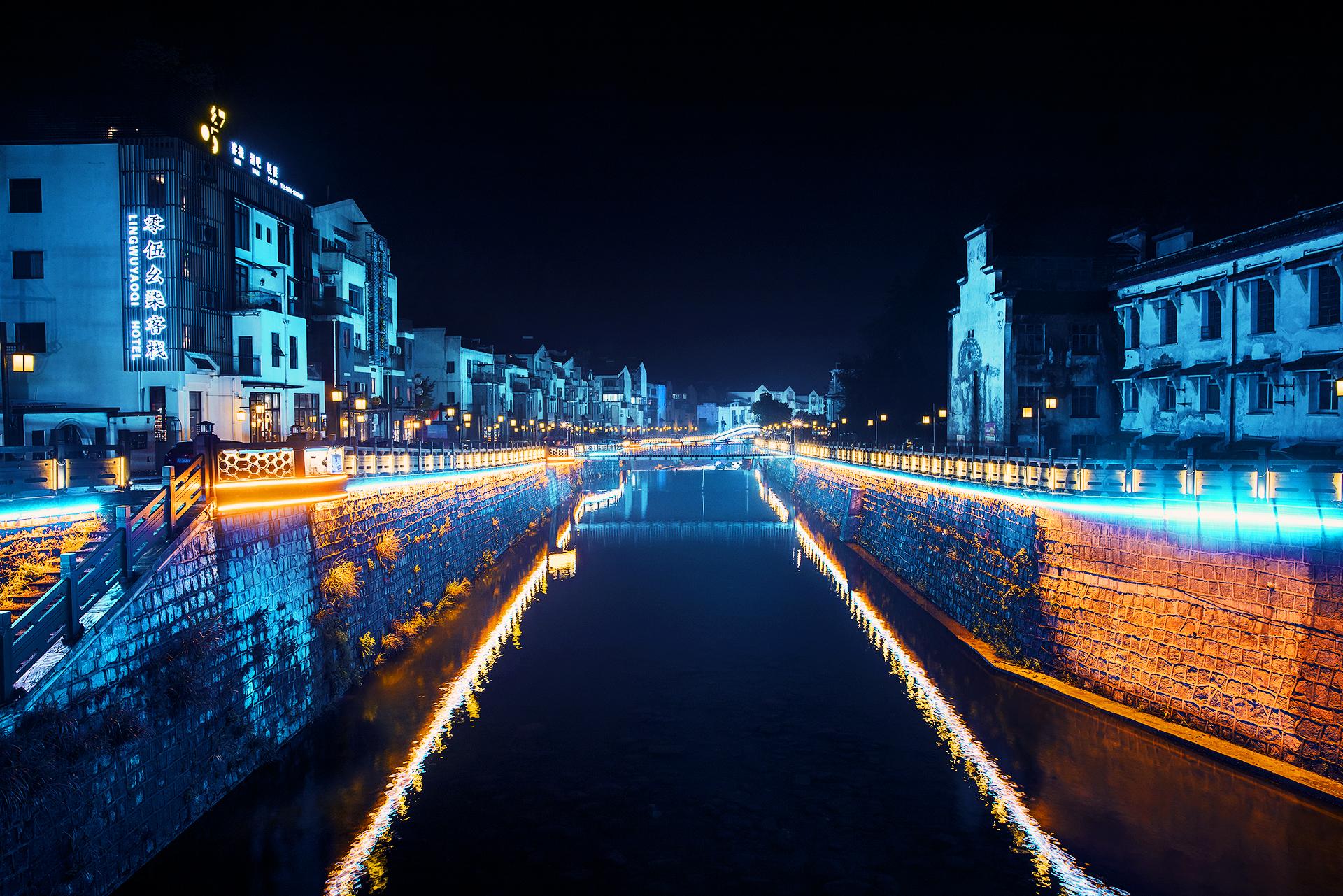 Night lights in Tangkou Town