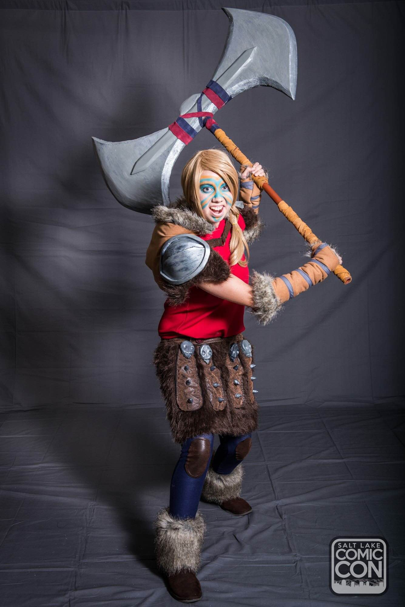 Astrid in all of her Viking fury